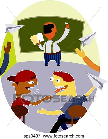 Stock Illustration - Students misbehaving behind the back of a teacher ...