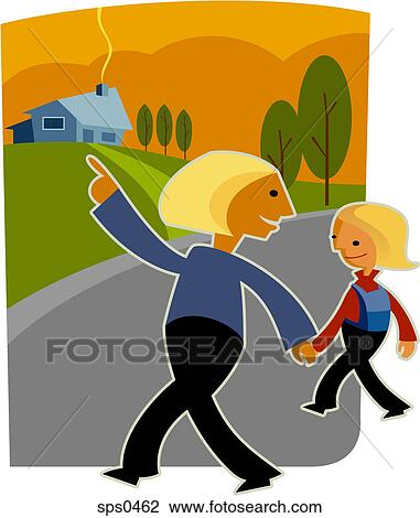 clip art of a mother and daughter walking home hand in