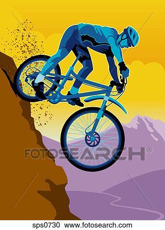 A Man Mountain Biking Downhill