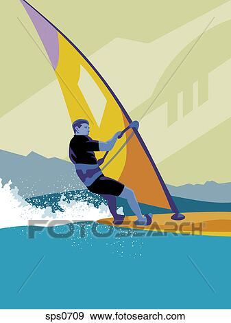 Stock Illustration Of A Man Windsurfing Sps0709