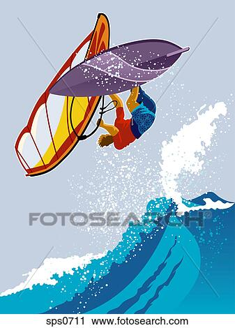 Clipart Of A Man Windsurfing Sps0711