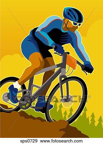 Stock Illustration of A man mountain biking sps0729 ...