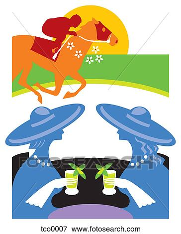 Vector three races as women stock illustration royalty free - Stock Illustration Of Two Women Toasting And Watching A