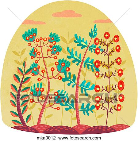 Clip Art of Different types of plants growing beside each ...