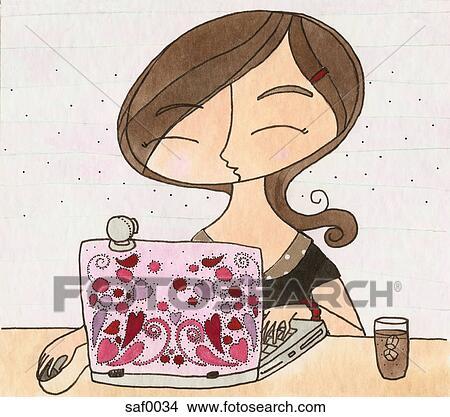 Dibujo - un, mujer, charlar, en, internet, con, ella, computador portatil. Fotosearch - Buscar Clip Art, Ilustraciones de Murales,  imagenes y Vectores EPS e imágenes gáficas