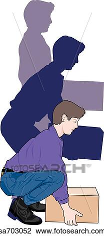Clip Art of Adult male demonstrating proper lifting ...