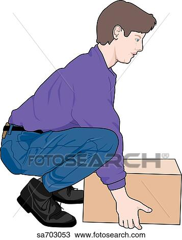 Drawing of Adult male demonstrating proper lifting ...
