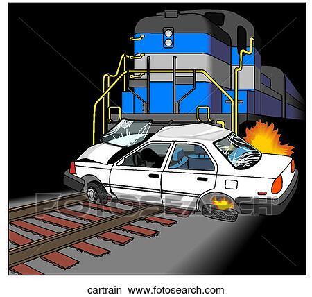 スケッチ - 自動車, 列車, 事故. Foto... スケッチ - 自動車, 列車, 事故自動