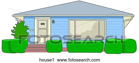 Clipart Of Single Story House House1