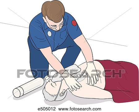 Clip Art of an EMT applying a chest seal used to treat an open ...