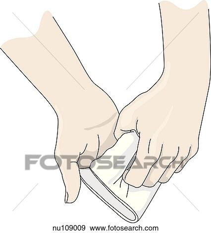 Stock Illustration of Third step in formation of mitt from ...