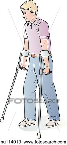 Illustration showing man using forearm support crutches  View Large    Using Forearm Crutches