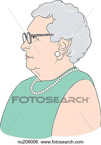 イラスト - 横の視野, の, 年配の女性, め... - 横の視野, の, 年配の女性, めが