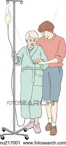 elderly woman to walk  Elderly Woman Walking Drawing