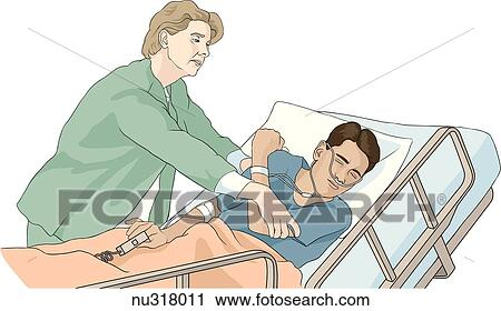 Cartoon Hospital Bed Restraints Clipart