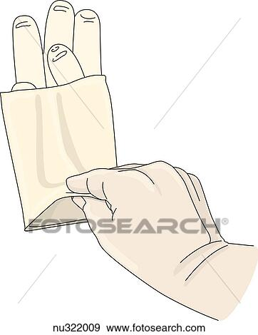 Stock Illustration of Hand grasps edge of folded cuff of sterile ...
