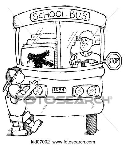 Clip Art of Illustration of child crossing safely in front ...