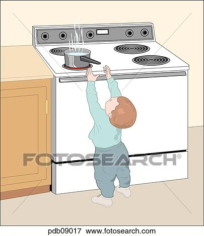 stock illustration zeichnung von kleinkind erreichen hei er topf auf kueche stove. Black Bedroom Furniture Sets. Home Design Ideas