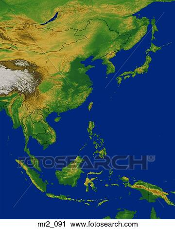 Stock Photography Of China Indonesia Map Relief Southeast Asia - Indonesia map