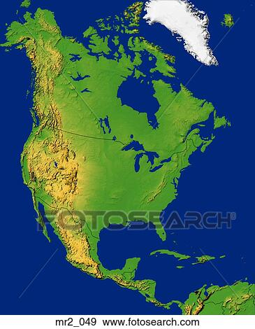 Stock Photograph Of Map North America Topographic United States - Us map of states topographic