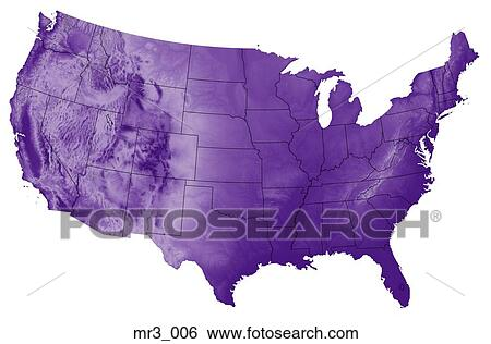 Stock Images Of Map Relief Terrain Topographic United States - Us map terrain