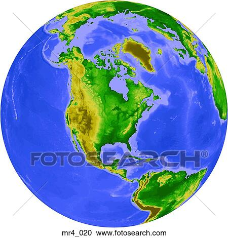 Stock Photography of globe map north america relief terrain