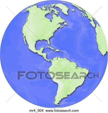 Stock Photo of globe south america north america map americas