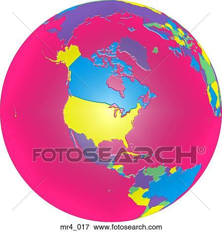 Picture of globe political north america map atlas mr4017