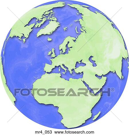 Stock Photography of middle east, asia, map, globe, europe, africa ...