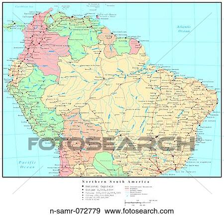 Stock Photograph of Map of Northern South America with Country Boundaries n