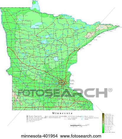 Stock Photo of map contour united states usa states minnesota