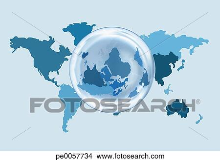 Stock photo of a world map with an overlaying globe for Environmental graphics giant world map wall mural