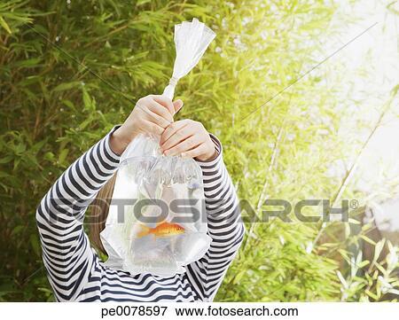 Image girl tenue poisson rouge dans sac plastique for Poisson rouge plastique