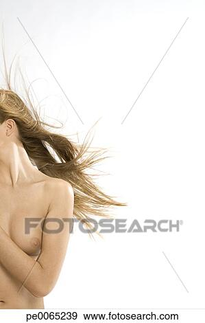 Nude Woman With Wind Blown Blonde Hair View Large Image