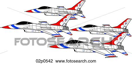Clipart of f-16 t-bird formation 02p0542 - Search Clip Art ...