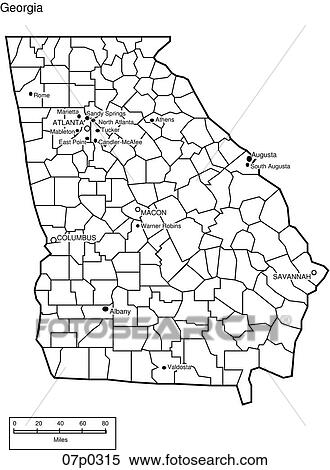 Clipart Of Georgia County Map P Search Clip Art - Georgia counties map