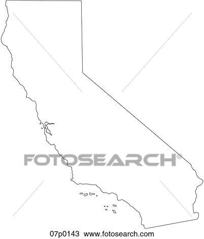 Clipart of california map 07p0143 Search Clip Art Illustration