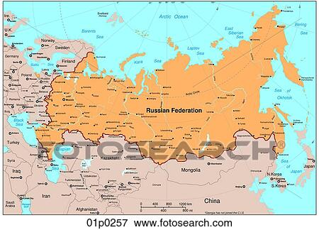 Clip Art of russia map 01p0257 Search Clipart Illustration