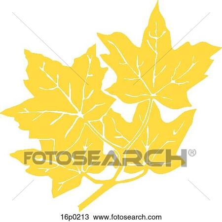 Clipart of gold maple leaves 16p0213 search clip art illustration