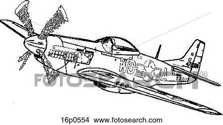 Clipart of US P-51 16p0554 - Search Clip Art, Illustration Murals ...