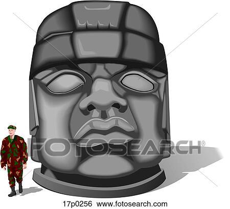 Cabeza Olmeca Dibujo Cabeza Olmeca 1