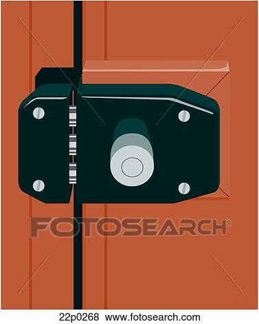 Clip art of three bolt door lock 22p0268 search clipart illustration posters drawings and - Locked door clipart ...