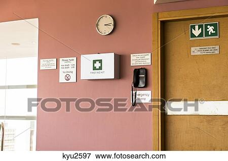 Emergency exit door with first aid kit and emergency phone & Picture of Emergency exit door with first aid kit and emergency ...