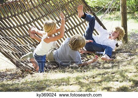 Stock Photo - Little children falling down from hammock. Fotosearch - Search Stock Images, Mural Photographs, Pictures, and Clipart Photos