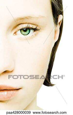 Stock fotografie tiener meisje gezicht bebouwd vooraanzicht paa428000039 zoek stock - Foto tiener ruimte meisje ...