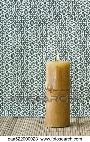 Stock Photo of Single pillar candle, burning paa522000023 ...