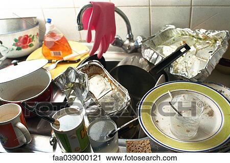 Stock Photography of Kitchen sink, counter piled over with dirty ...
