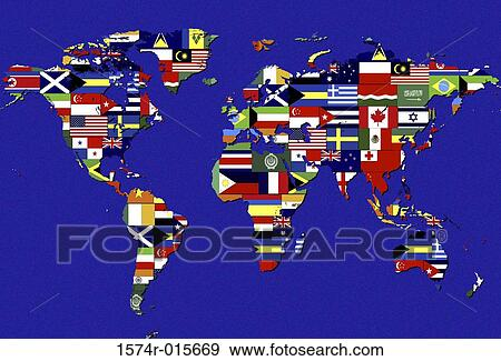 Stock photograph of world map covered with flags of different stock photograph world map covered with flags of different nations fotosearch search stock gumiabroncs Image collections