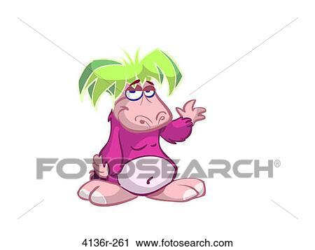 Clipart rosa cartone animato animale con capelli - Animale cartone animato immagini gratis ...