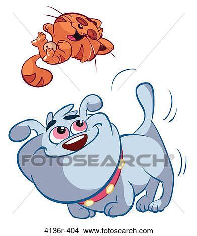 手绘图 - 猫, 同时,, 狗, 玩.图片